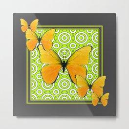 Gray Green Pattern  Yellow Butterflies Art Metal Print