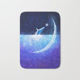 Blue whale and crescent Bath Mat
