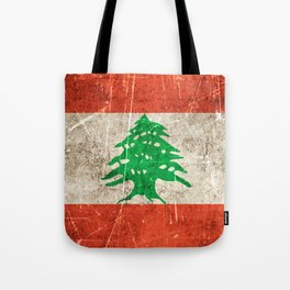 Vintage Aged and Scratched Lebanese Flag Tote Bag