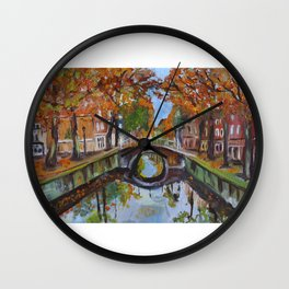 Bridge in Delft Wall Clock