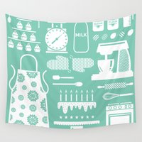baking Wall Tapestries featuring Baking Graphic by Modart Design