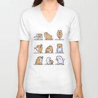 pomeranian V-neck T-shirts featuring Pomeranian yoga by Huebucket