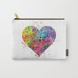 Heart Watercolor Art Love Gift Valentine's Day Gift Wedding Art Engagement Gift Carry-All Pouch