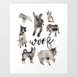 Woof Dog Art Print, Ink and Brush Art, Hand Lettering, Pet Wall Decor, Puppy Art Print Art Print