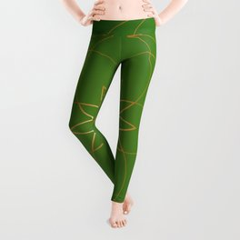 Minimalist Sacred Geometric Succulent Flower in Gold and Emerald Green  Leggings