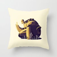 iron giant Throw Pillows featuring IRON GIANT by rafael mayani