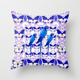 ABSTRACT BUTTERFLIES & BLUE MACAWS PATTERN ART Throw Pillow