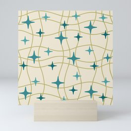 Mid Century Modern Cosmic Star Pattern 693 Cream Turquoise Olive Mini Art Print