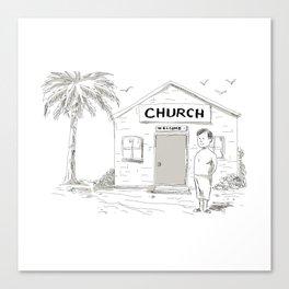 Samoan Boy Stand By Church Cartoon Canvas Print