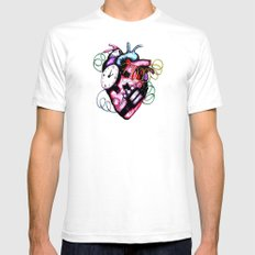 Heart Bomb SMALL White Mens Fitted Tee