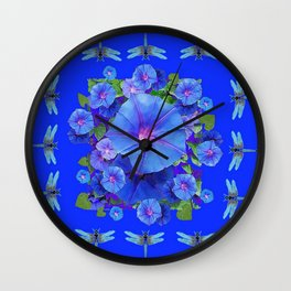 BLUE MORNING GLORIES DRAGONFLIES ART Wall Clock