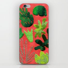 tropical leaves embroidered pattern iPhone Skin