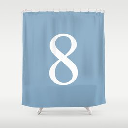 number eight sign on placid blue color background Shower Curtain