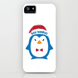 Bah Humbug Angry Penguin Santa Hat Xmas Long Sleeve Pun Cool Humor Gift Design iPhone Case