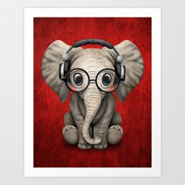 Cute Baby Elephant Dj Wearing Headphones and Glasses on Red Art Print