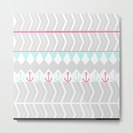 Stylish pink teal gray chevron anchor pattern Metal Print