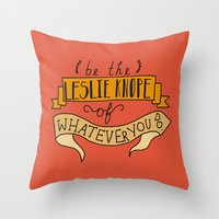 leslie knope Throw Pillows featuring Leslie Knope by Illustrated by Jenny
