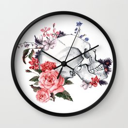 Roses Skull - Death's head Wall Clock