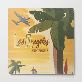 Los Angeles Vintage Poster - Fly TWA Metal Print
