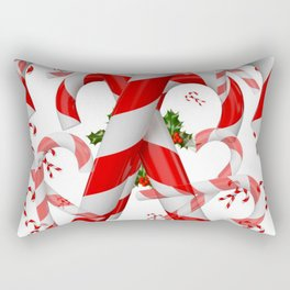 FESTIVE ART RED-WHITE CHRISTMAS CANDY CANES HOLLY BERRIES Rectangular Pillow