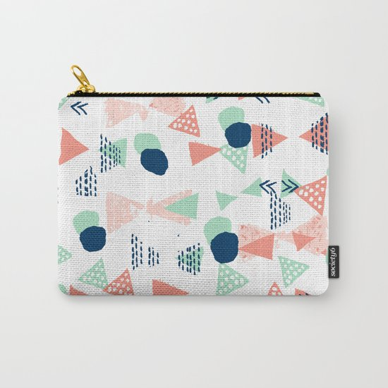Navy painted shapes polka dots minimal basic decor mint peach and blue pattern Carry-All Pouch