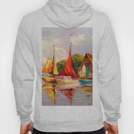 Sailboats near the shore Hoody