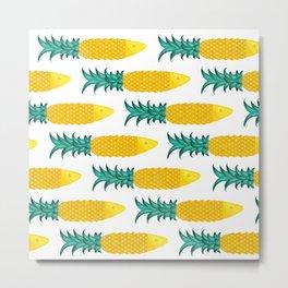 Pineapple Sardine Metal Print