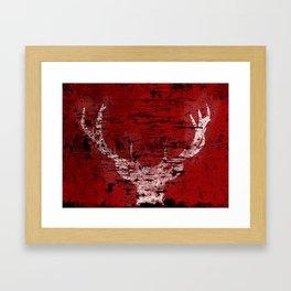 Industrial White Deer Silhouette on Red A313 Framed Art Print