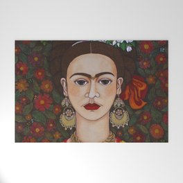 Frida with butterflies Welcome Mat