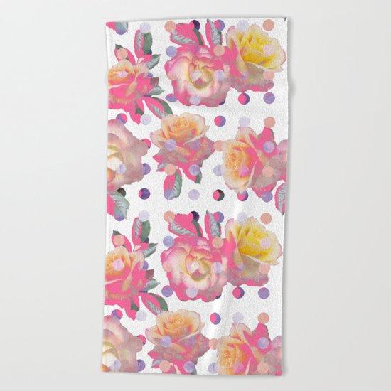 Sweet Pink Rose Garden Beach Towel