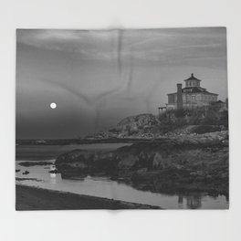"Full ""Pink"" Moon at Good Harbor Beach BW Throw Blanket"