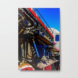 Vintage Steam Engine Locomotive And Blue Sky Metal Print
