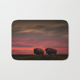 Two American Buffalo Bison at Sunset Bath Mat