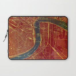 09-New Orleans Louisiana 1932, red and blue old map Laptop Sleeve