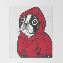 Red Hoodie Boston Terrier Throw Blanket