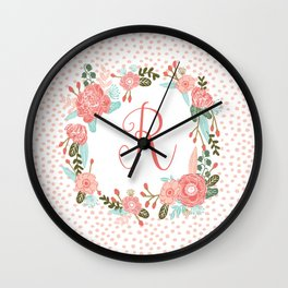 Monogram R - cute girls coral florals flower wreath, coral florals, baby girl, baby blanket Wall Clock