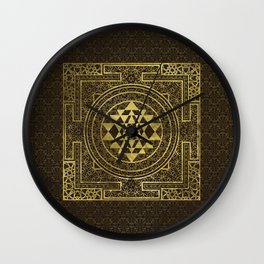 Gold Sri Yantra  / Sri Chakra Wall Clock