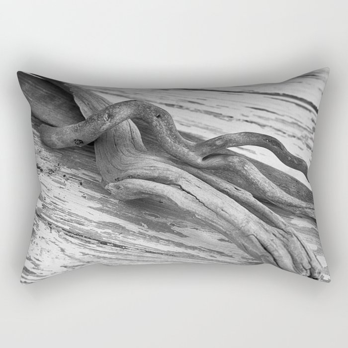 weathered driftwood black and white Rectangular Pillow