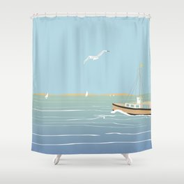 Seascape without sun Shower Curtain