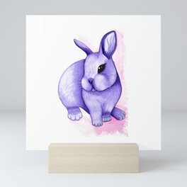 Watercolor lilac rabbit Mini Art Print