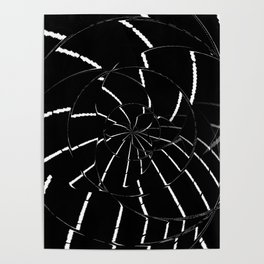 Abstract Spider Web, Black and White Lines, Spiral, Mandala, Broken Glass Poster