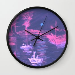 Violet Neon Lights Sunrise Wall Clock