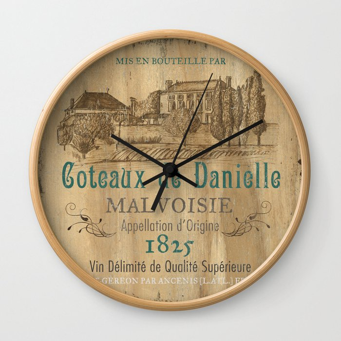 Barrel Wine Label 2 Wall Clock