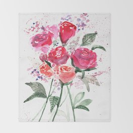 Abstract Watercolor Red Roses Throw Blanket