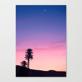 Sunrise Moon and Star over the Moroccan Desert Canvas Print