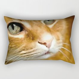 Adorable Ginger Tabby Cat Posing Rectangular Pillow