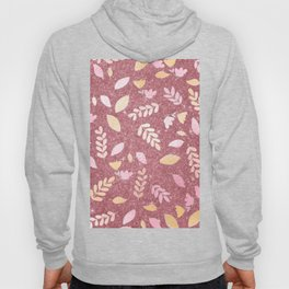 Abstract Pink Glitter Pastel Colors Floral Foliage Hoody