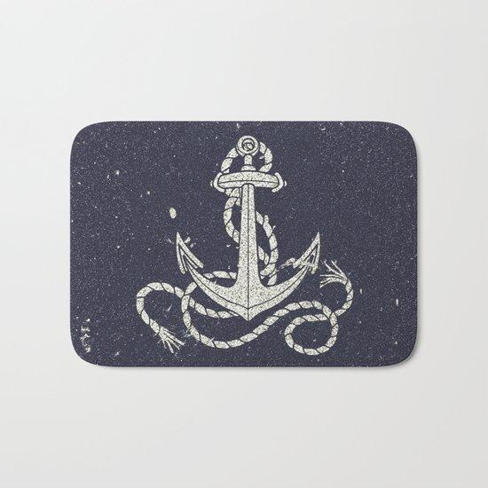 Navy Blue Nautical White Anchor for Sailor Texture Bath Mat