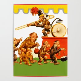Retro Circus Poster - Monkeys Poster