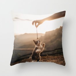Standing Cat Toy Playing Throw Pillow